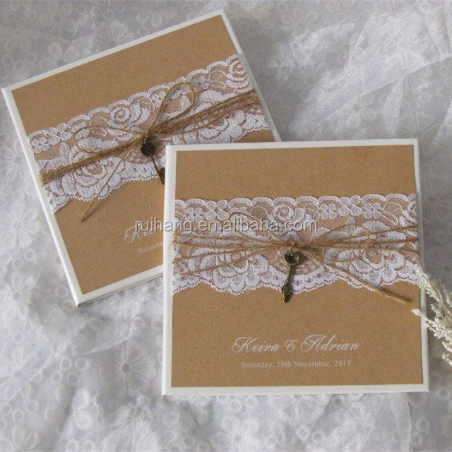 Plain handmade personalized hardcover kraft paper wedding invitation cards