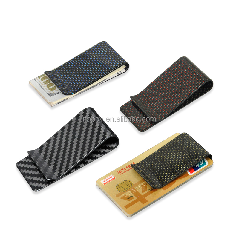 Alibaba Hot Items Metal Carbon Fibre Gifts Colorful Money Clip Card Holder