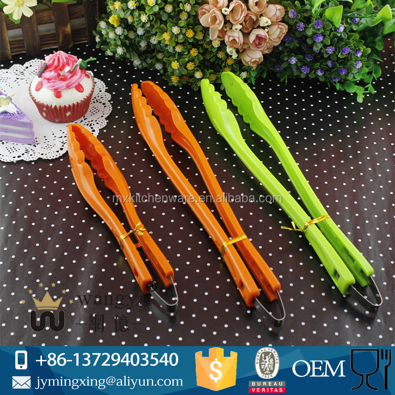 Factory Offer MX8809 Colorful Plastic Food Tong Cooking Tong Kitchen Item Tool BBQ Utensils Trumpet