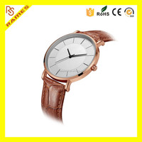 Ultra Thin Classic Quartz Dress Watch man Brown Leather Band