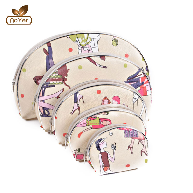 Alibaba china custom fruit cartoon cosmetic bag fashion 5pcs travel toiletry bag set