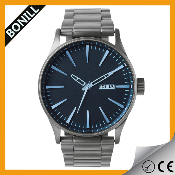 nice watch with calendar japan movt quartz watch stainless steel bezel