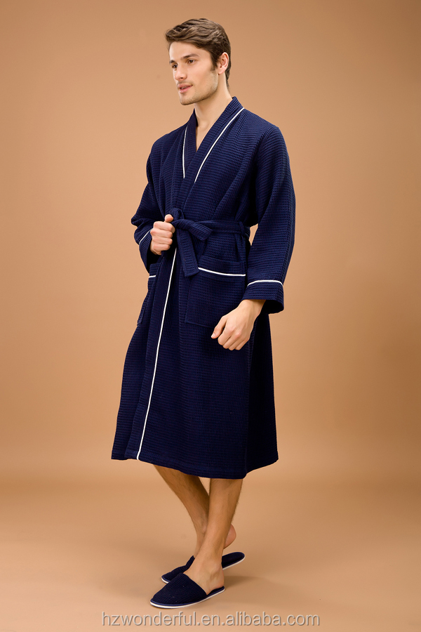 2015 New navy blue kinomo waffle bathrobe for men