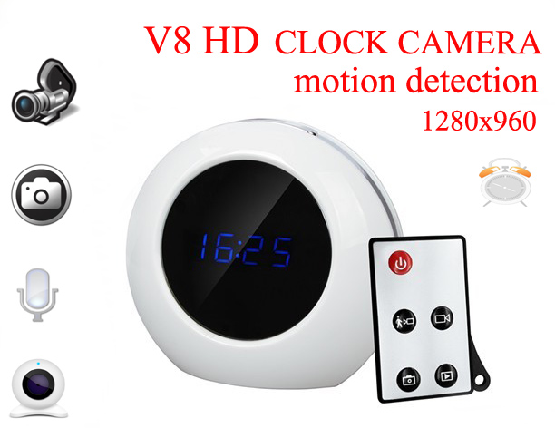 V8 CMOS Wireless Mini Hidden Camera Alarm Clock Digital Motion Detection Security Clock