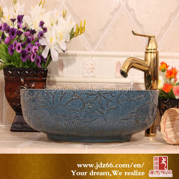 relief ancient style bathroom wash basin sink