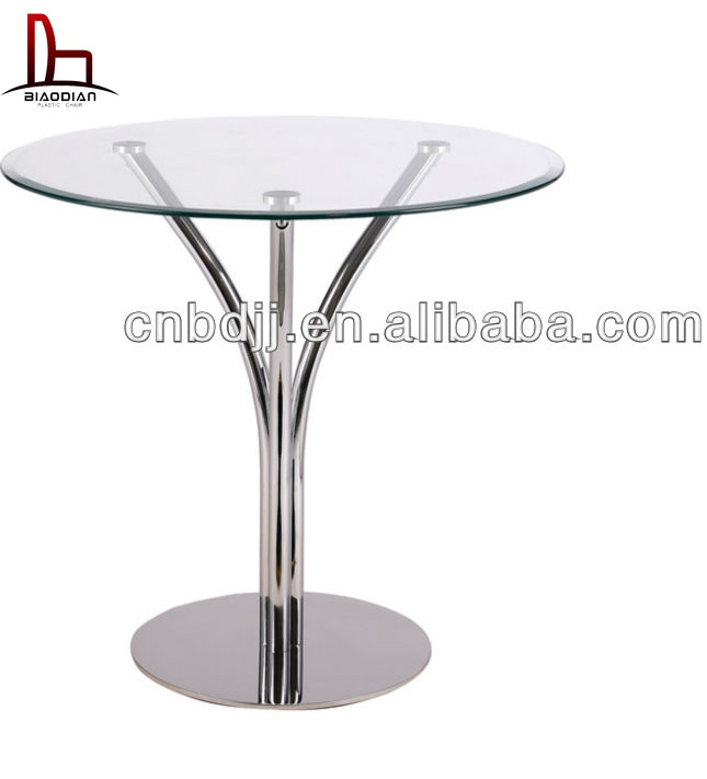 Modern metal side round table tree shape base glass top side table