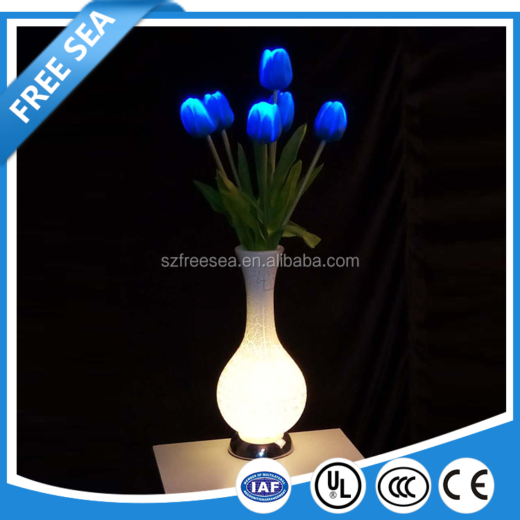 party/wedding indoor lotus/tulip led RGB decorative flower lights with nice plastic base