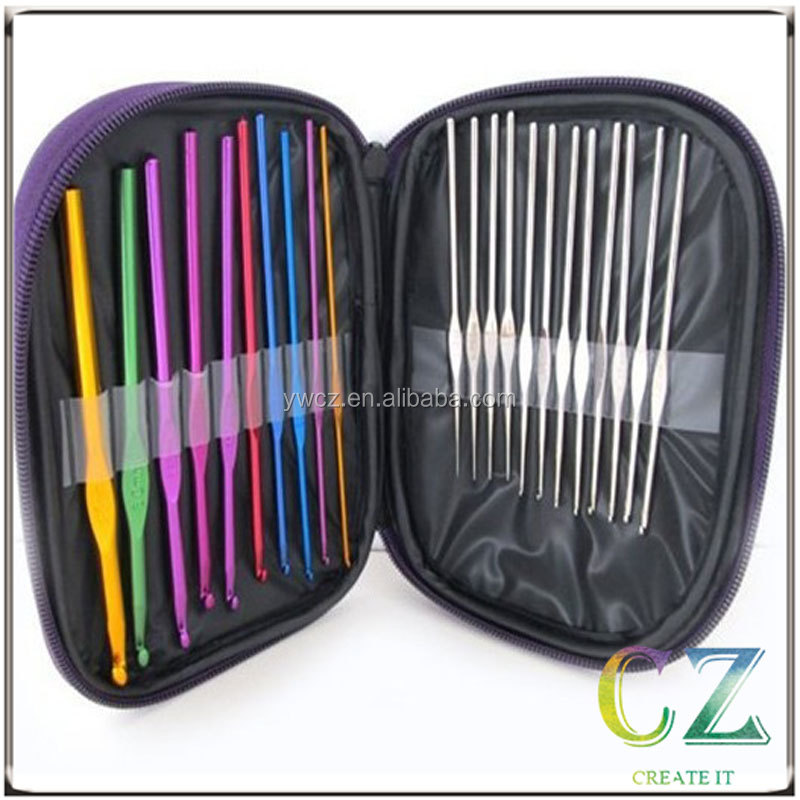 22PC HOUSWEETY Mixed Aluminum Handle Crochet Hook Knitting Knit Needle Weave Yarn Set Full Kit