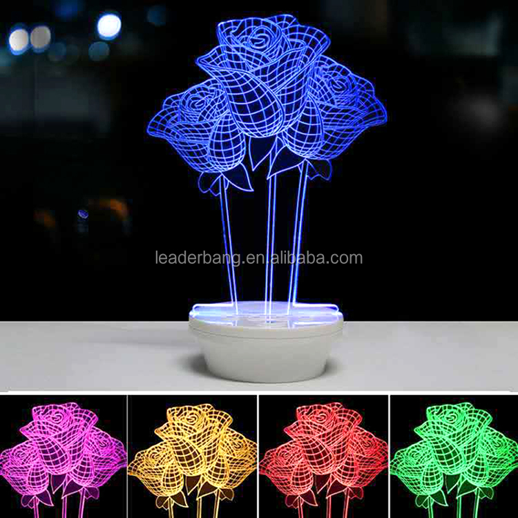 2017 new arrivals beautiful flower 3d led speaker with colorful led light