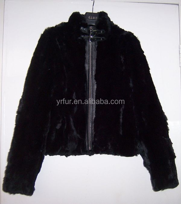 YR744 Old Design Knitting Rabbit with Sheep Leather Women Coats