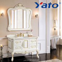 YATO bathroom cabinets vanity Wooden ( can be PVC) White gold decor YC-2120