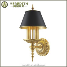 Meredith black iron shade brass wall lamp bases #3073