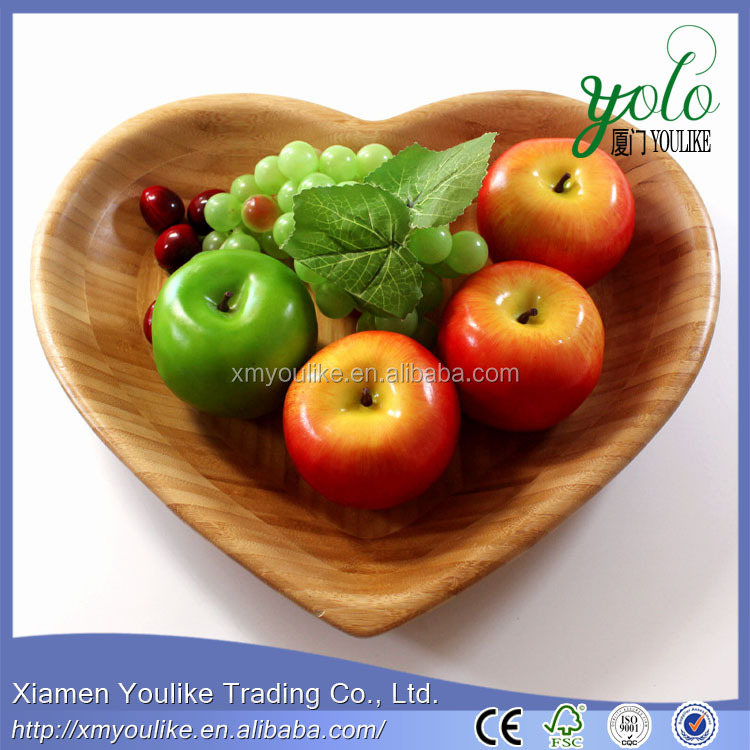 New Bamboo Heart Shaped Fruit Serving Tray