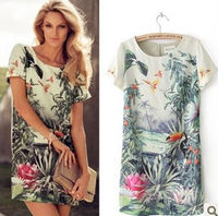 2014 spring newest euroepan and american environmental straight-sleeved round neck color printing ink bird dress