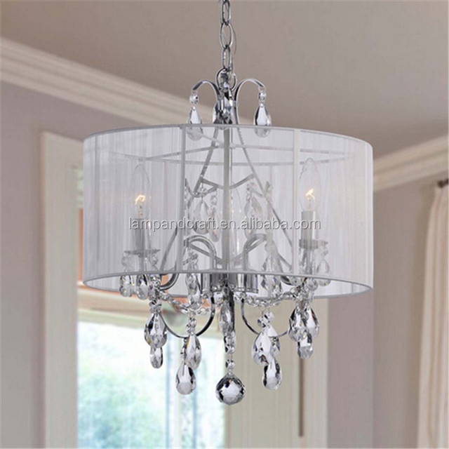 Maury White Cotton Thread and Chrome Crystal Chandelier lamp