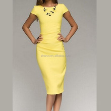 Wholesale official refinement short-sleeved dress women frock design for ladies