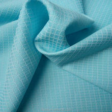 100 spun Polyester Cation Yarn Woven Plaid Blue Fabric For Cloth/Dress