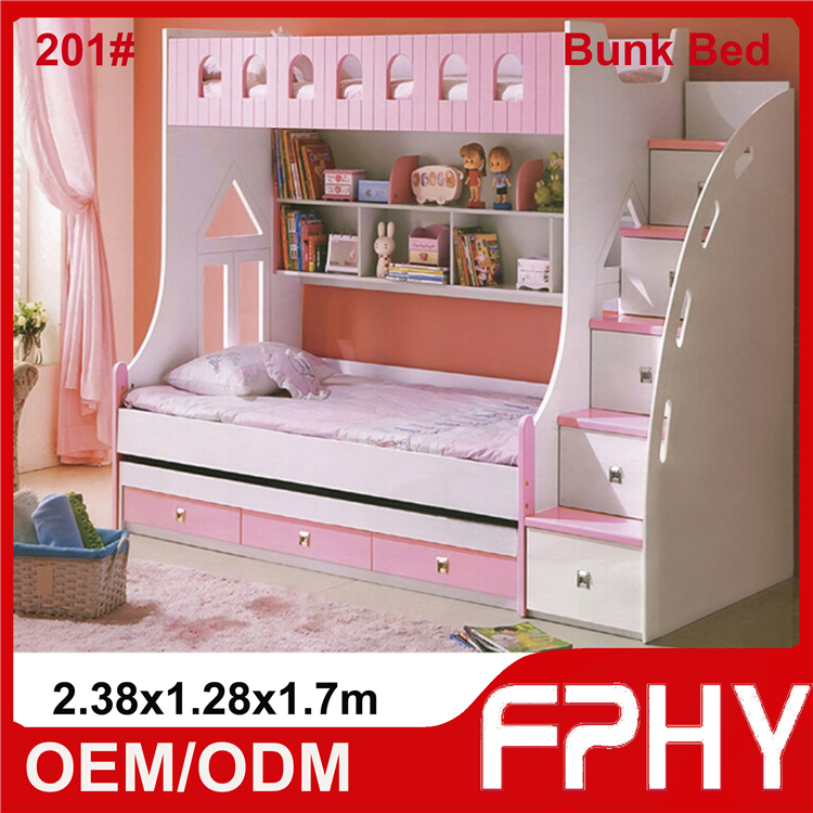 2016 Hot Sale Kids Double Deck Bed Kids Bunk Bed for School Use or for Mother and Child Use