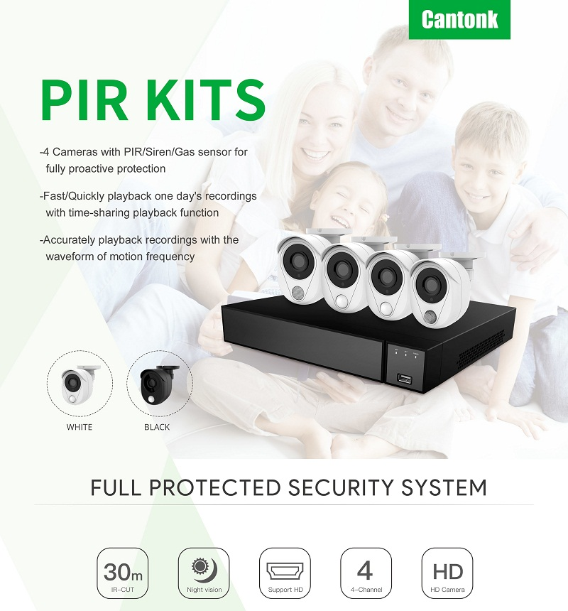 1080P SMART CCTV HD Kits 4ch Outdoor PIR Alarm Kits Camera Home Security