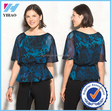 Yihao trade assurance ladies blouse print blouse for middle age women
