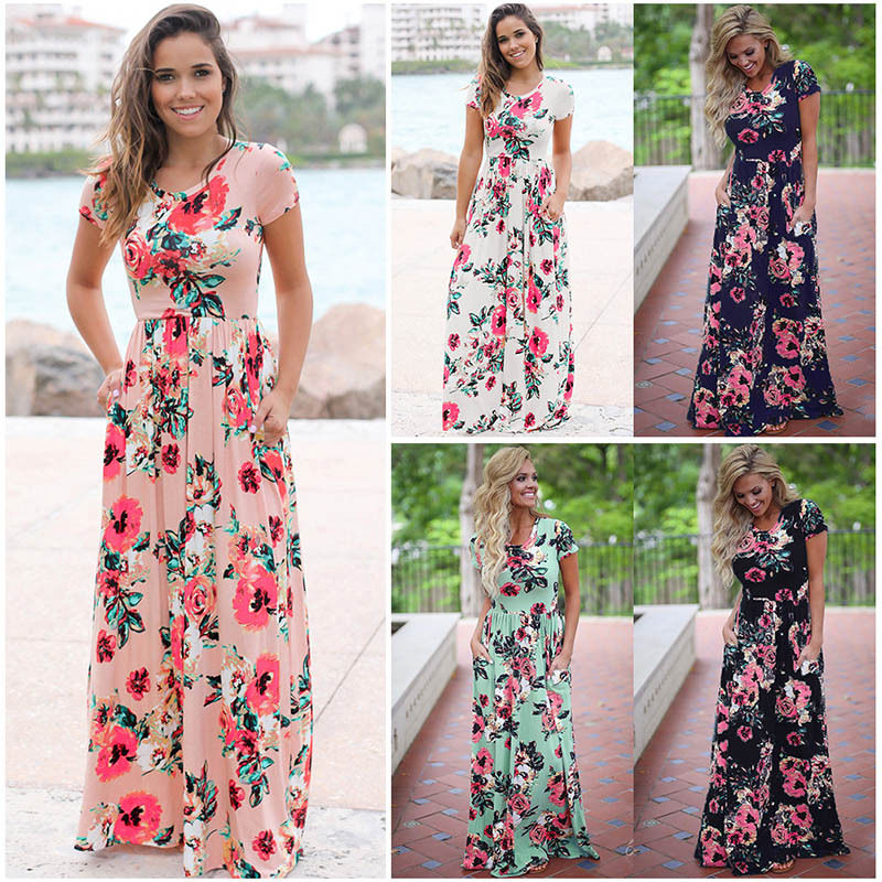 19 Summer Long Dress Floral Print Boho Beach Dress Tunic Maxi Dress Women Evening Party Dress Sundress Vestidos de festa XXXL 19