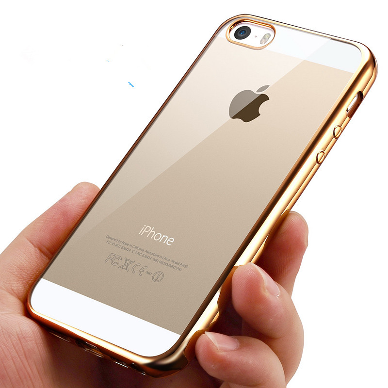 Sparkling Bling Colorful Ultra Thin Slim Gold-Plating Clear Transparent TPU Soft Case Cover For iphone 6s