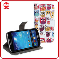 RF Manufacturer Stylish Owl Design With Card Slots Stand Wallet Flip Back Cover Leather Case for Galaxy S4 Mini