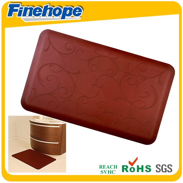 Customize Polyurethane foam OEM PU rubber flower pattern print kitchen anti fatigue mat carpets and rugs