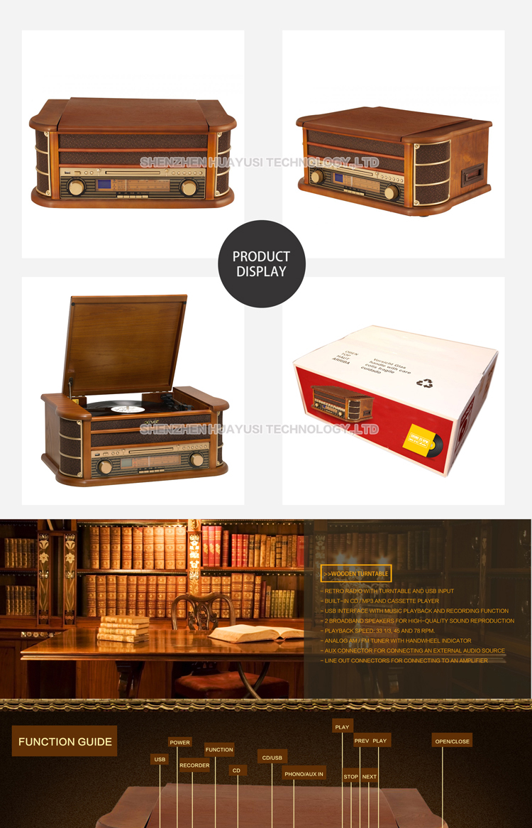 Wood High End Vinyl Turntable CD Record Cassette Radio Player With USB Recording