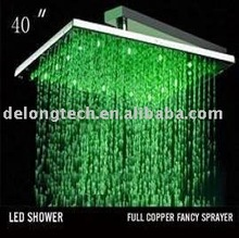 "40"" 12pcs LED RGB color stainless steel rainfall led head shower,water saving"