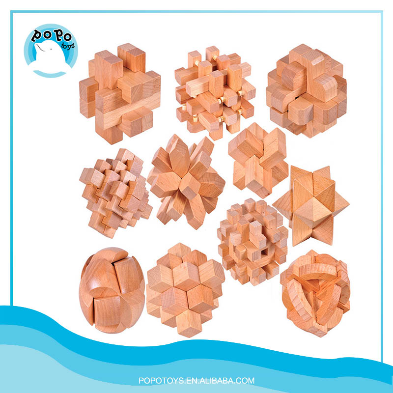 KongMing Puzzle Lock Kids Wooden Intellectual Puzzle Brain Tease Toy