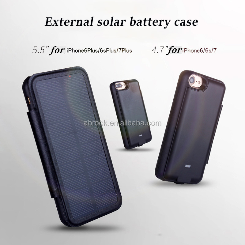 "Hot 3000mah /5000mah external battery charger solar power cell phone case for iphone 4.7"" 5.5"""