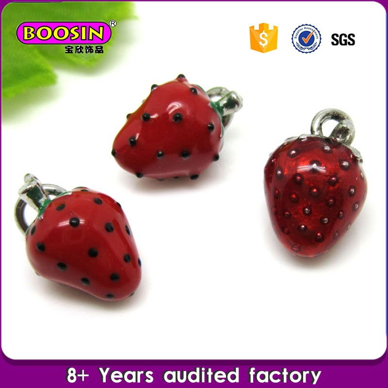 Eco-friendly charms wholesale red fruit design floating locket charms