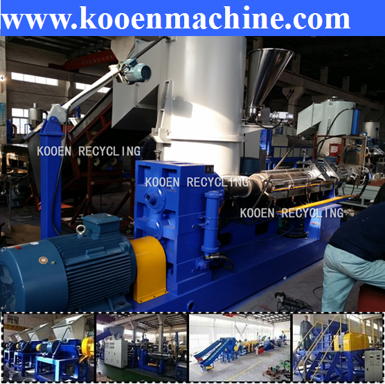 China High performance waste used scrap pp pe film plastic recycling granulating machine pelletizing machine extruder line