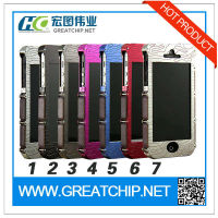 2014 Showkoo Armor Durable aluminum bumper case for iphone 5 5S with genuine leather protection