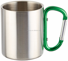220ml double wall 304 insulated stainless steel coffee mug with carabiner handle