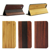 Full Protective Original Flip Real Bamboo Wood Phone Cases For iphone 6/6s Back Cover