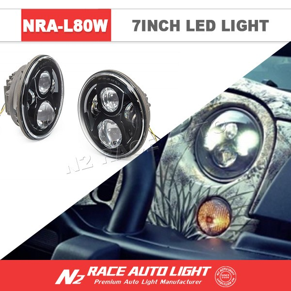 "n2 headlight led auxiliary for motorcycle 80w 7"" round headlight harley daymaker led"