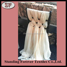Fashion design wholesale blush chiffon ruffled banquet wedding event chair cover sash