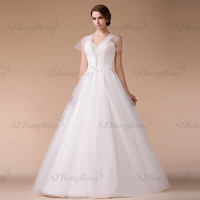 HM96861 sweet pearl heavily beaded Zip closed half-backless pleated spaghetti strap style variable ball gown wedding dress