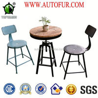 Cafe furniture pine wood table top metal dining table