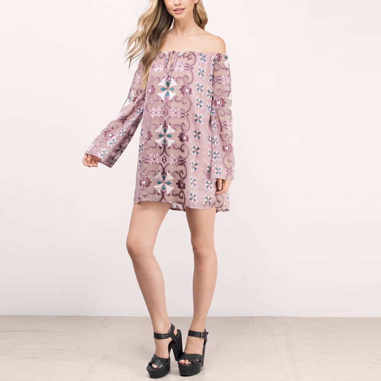 Summer New Arrival Sweet Beauty Off Shoulder Shift Lasual Little Dress Woman