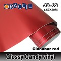 Hot Selling 1.52X20m Air Bubble Free Glossy Candy Red Vinyl Film Wrap for car