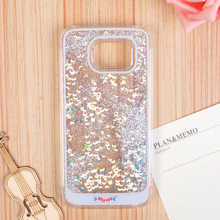 Colorful Custom Liquid Glitter Flowing Phone Case Bling Glitter Water Skin Cover For Samsung Galaxy S6 Stars Flowing Case