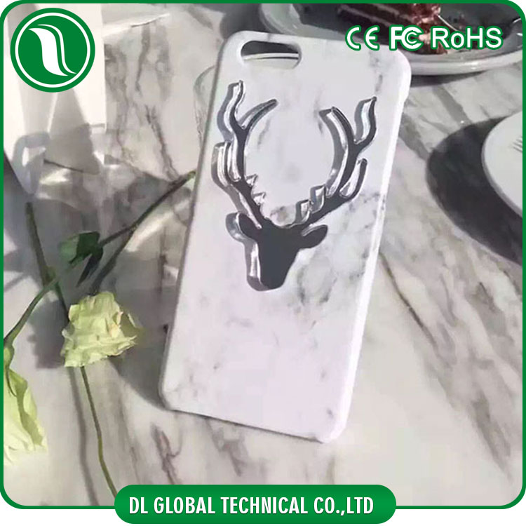 Korean fashion christmas gift 2016 decorate back cover for mobile phones pc marble for iphone 7 case back cover with elk design