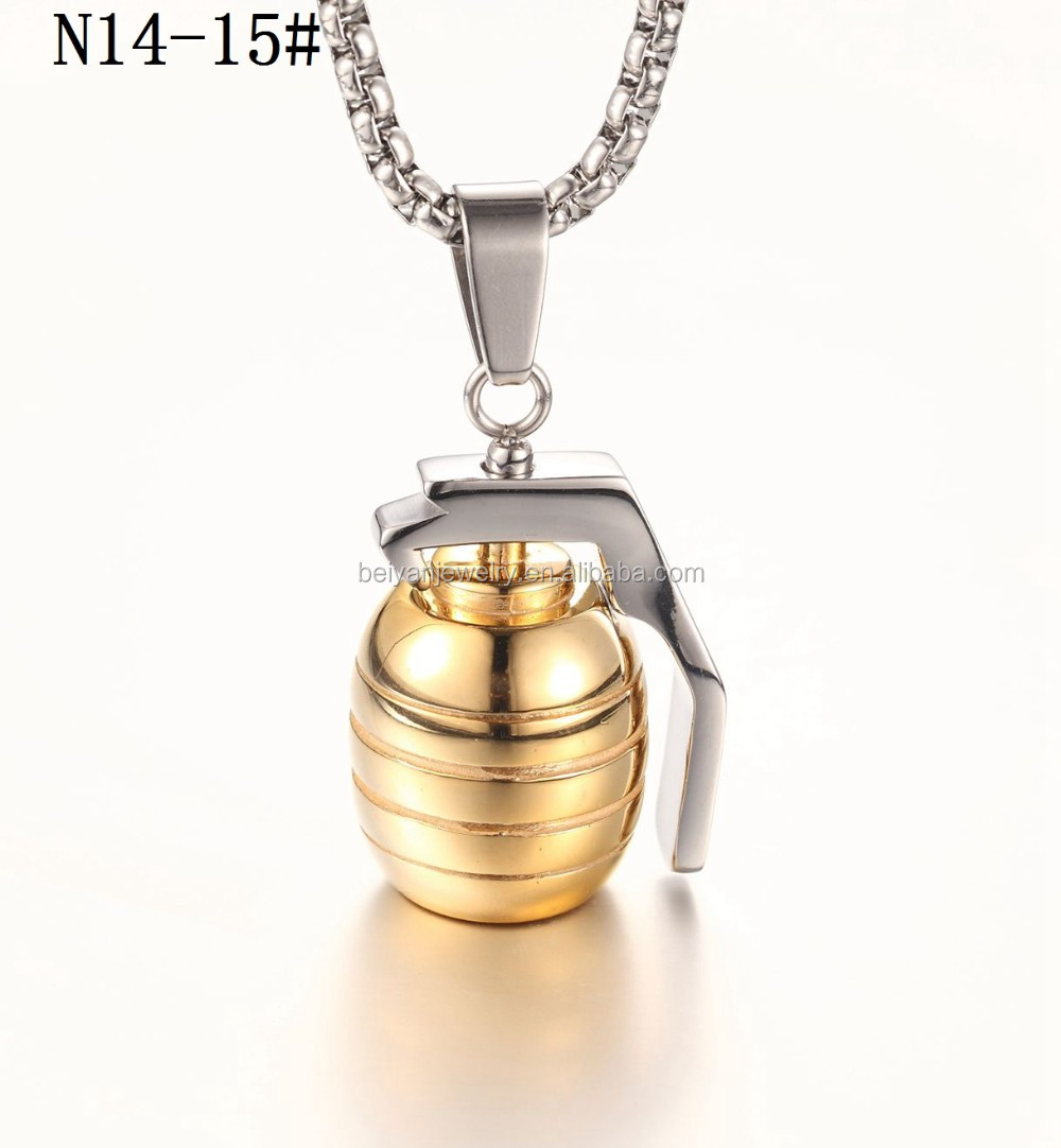 stainless steel hand grenade necklace pendant with chains