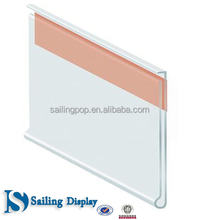 Supermarket Shelf Plastic Price Data Strip Label Holders Tag Holders Sign Holders for Flat Surface with Adhesive Tape