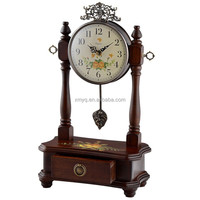 Retro Style Cheap Retro Wood Desk Clock For Wedding Gift