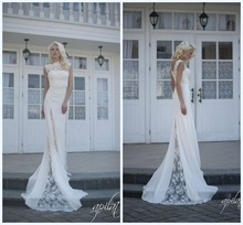 Elegant Beach High Neck Lace Inner Appliques Stain Outer Wedding Dress HA-215
