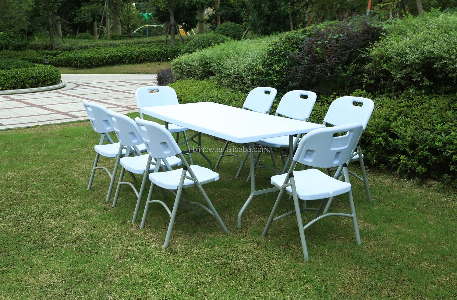 100% virgin 6FT rectangular HDPE plastic folding table